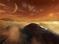 Dark dunes are shaped by the moon's winds on the surface of Titan. Stock Illustration