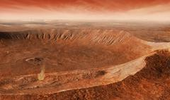Martian Gullies in Noachis Terra, Mars. Stock Illustration