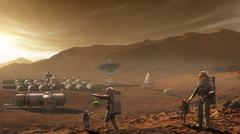 Future Mars colonists playing with children on Mars, a place they call home. Piirros