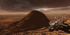 NASA's Curiosity rover climbing to the summit of Mount Sharp. Stock Illustration