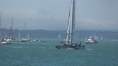 America's Cup qualifying series - Team France performs a gybe. Stock Footage