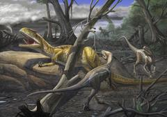A Neovenator salerii is approached by Eotyrannus lengi dinosaurs. Stock Illustration