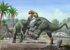 Conflict between two male Altirhinus kurzanovi dinosaurs. Stock Illustration