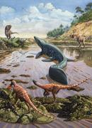 Raptors attack a vulnerable Mosasaurus that remained aground at low tide. Stock Illustration