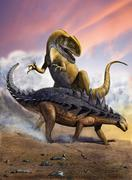 Confronation between a Neovenator and a Polacanthus armored dinosaur. Stock Illustration