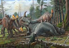 A group of young Hypacrosaurus approach a couple Rubeosaurus relaxing in the Stock Illustration