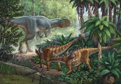 Two Gigantspinosaurus fearful at the sight of a large Yangchuanosaurus.. Stock Illustration