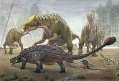A female Saurolophus attempts to crush a Tarchia armored dinosaur. Stock Illustration
