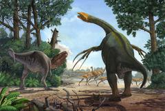 A Therizinosaurus prevents a young Tarbosaurus in his hunt for Gallimimus. Stock Illustration