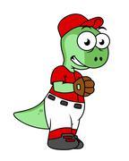 Illustration of a Pachycephalosaurus baseball pitcher. Stock Illustration