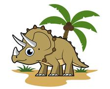 Cute illustration of a Triceratops in a tropical climate. Stock Illustration