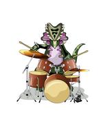 Illustration of a Chasmosaurus playing the drums. Stock Illustration