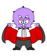 Illustration of a Ceratops dinosaur dressed up as Count Dracula. Stock Illustration
