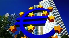 4K Frankfurt am Main financial center Deutsche bank big Euro sign Willi Brandt Stock Footage