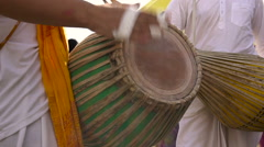 Krishna Festival. Musicians Play Drums. Women in Beautiful Indian Robes in the Stock Footage