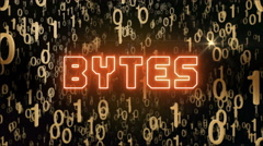 Golden Bytes concept with digital code Stock Footage
