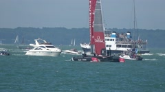 America's Cup qualifying series- Team New Zealand relax after a race. Stock Footage