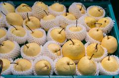 Chinese pear as  Pattern Background in white Foam Cover in Plastic Crate Stock Photos
