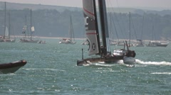 America's Cup qualifying 2016 - Team BAR heels with one hull clear of the water. Stock Footage