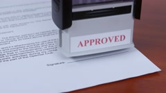 People approved conditions of the contract by stamp. Close up Stock Footage