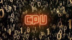 Golden CPU concept with digital code - stock footage
