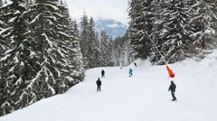 Skiing down the track Stock Footage