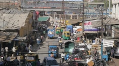 Busy market street with traffic,Indore,India Stock Footage