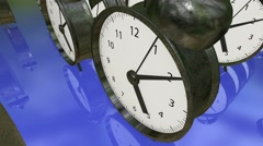 Alarm clocks in rows in metal color on blue Stock Footage
