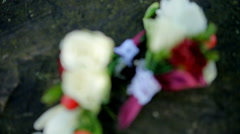 Close up of Buttonhole on wooden Stock Footage