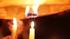 Candle Lighting Chinese Lantern feul Stock Footage