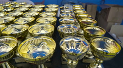 The many of the trophies displayed Stock Footage