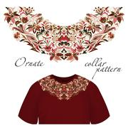 Neck print vector floral design. Fashion white lace collar. Vector illustration - stock illustration