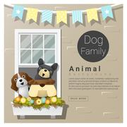 Cute animal family background with Dogs - stock illustration