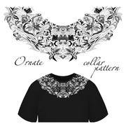 Neck print vector floral design. Fashion white lace collar. Vector illustration Stock Illustration
