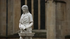 Fountain With a statue of a Woman by the Bath Abbey Stock Footage