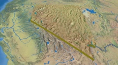 Nevada - United States, region extruded. Topography Stock Footage