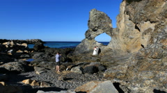 Australia photographing bride and groom at Australia Rock Stock Footage