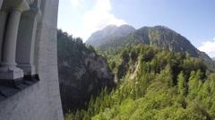 Landscape to Marien bridge from Neuschwanstein castle, Bavaria, Germany Stock Footage
