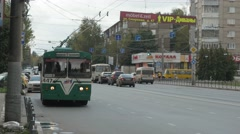 Electrical russian bus green Ivanovo 4K Stock Footage