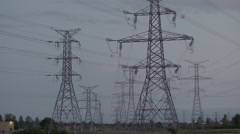High voltage electrical power towers. 4K UHD. Stock Footage