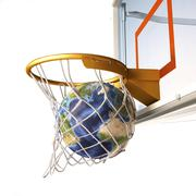 3D rendering of planet Earth falling into a basketball hoop. Piirros