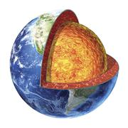 Cross section of planet Earth showing the lower mantle. Stock Illustration