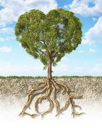 Cross section of soil showing a heart-shaped tree with its roots as text Love Stock Illustration