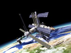 Space station in orbit around Earth. Stock Illustration