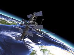 Mir Russian Space Station in orbit over Earth. Stock Illustration