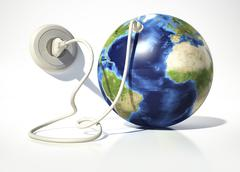 Planet Earth with electric cable, plug and socket. Stock Illustration