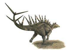 Pencil drawing of Kentrosaurus aethiopicus on yellow paper. Stock Illustration