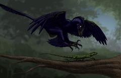 Microraptor hunting a small lizard on a tree branch. Stock Illustration
