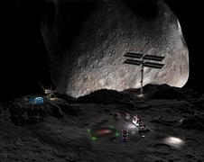 Artist's concept of a mining settlement on the double asteroid 90 Antiope. Stock Illustration