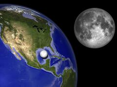 Illustration of Enceladus in front of the Earth and next to Earth's moon. Stock Illustration